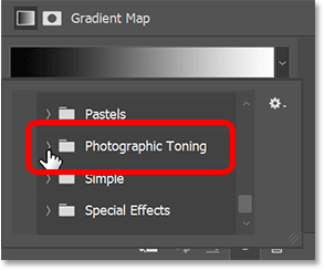 Scrolling to the Photographic Toning group in the Legacy Gradients group