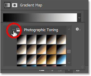 Viewing the Photographic Toning preset gradients in the Gradient Picker