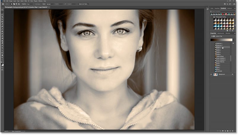 The color grading effect using the Sepia 1 Photographic Toning preset