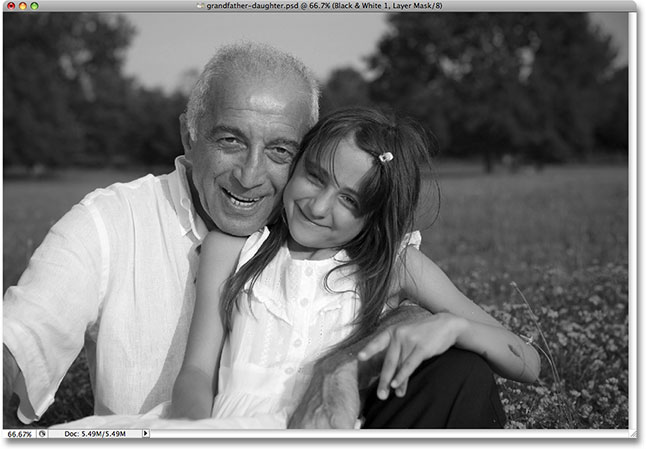 The default black and white conversion. Image © 2009 Photoshop Essentials.com.