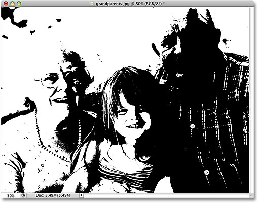 A true black and white image in Photoshop, technically known as a bitmap image. Image licensed from iStockphoto by Photoshop Essentials.com
