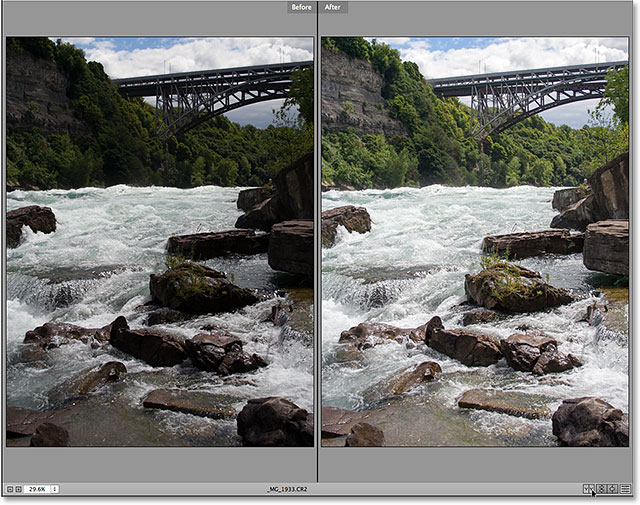 The first of the Before and After views in Camera Raw.