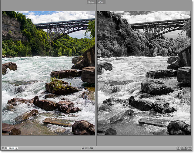 Comparing a color and black and white version of the image in camera raw