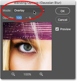 Changing the blend mode of the Gaussian Blur Smart Filter to Overlay.