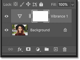 The adjustment layer appears above the image in Photoshop's Layers panel