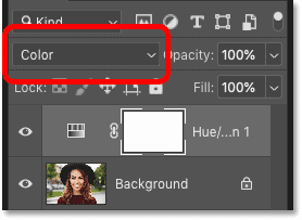 Changing the blend mode of the Hue/Saturation adjustment layer in Photoshop's Layers panel
