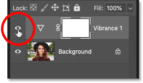 Turning the adjustment layer off by clicking its visibility icon in Photoshop's Layers panel