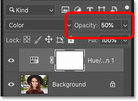 Lowering the Opacity of the Hue/Saturation adjustment layer