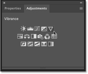 The adjustment layer icons in Photoshop's Adjustments panel