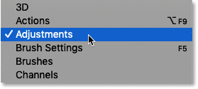 Opening Photoshop's Adjustments panel from the Window menu