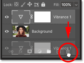Deleting the adjustment layer in Photoshop's Layers panel