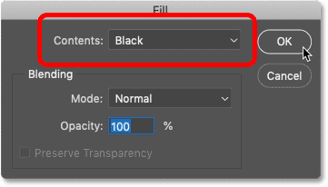 Setting the Contents option to Black in Photoshop's Fill dialog box