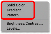 The three kinds of fill layers available in Photoshop