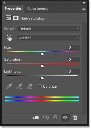 Photoshop's Properties panel showing the Hue/Saturation adjustment layer settings