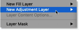 Where to find adjustment layers in Photoshop's Menu Bar