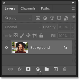 Photoshop's Layers panel showing the image on the Background layer