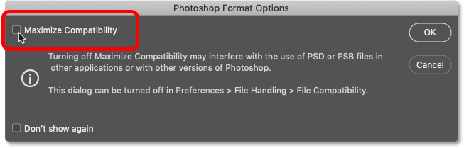 Unchecking the Maximize Compatibility option in Photoshop
