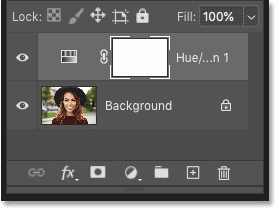 Photoshop's Layers panel showing the Hue/Satuation adjustment layer above the image