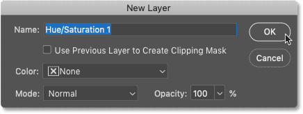 The New Layer dialog box opens when adding adjustment layers from Photoshop's Menu Bar