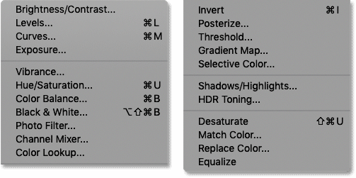 The list of Photoshop's image adjustment commands