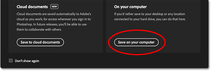 Choosing to save the Photoshop document to my computer
