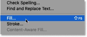 Selecting the Fill command in Photoshop