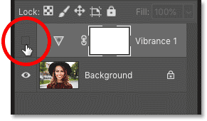 Turning the adjustment layer on in Photoshop's Layers panel