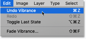 Choosing the Undo Vibrance command in the Edit menu in Photoshop