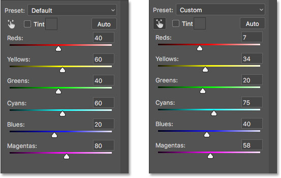 Comparing the default and Auto black and white settings.
