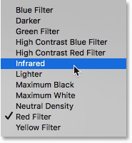 Choosing the Infrared preset.