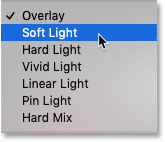Choosing the Soft Light blend mode in Photoshop