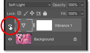 Turning the Vibrance adjustment layer on and off in Photoshop's Layers panel