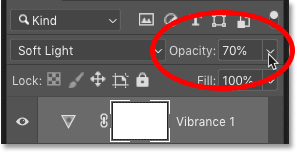 Fine-tuning the image contrast adjustment with the Opacity option in Photoshop's Layers panel