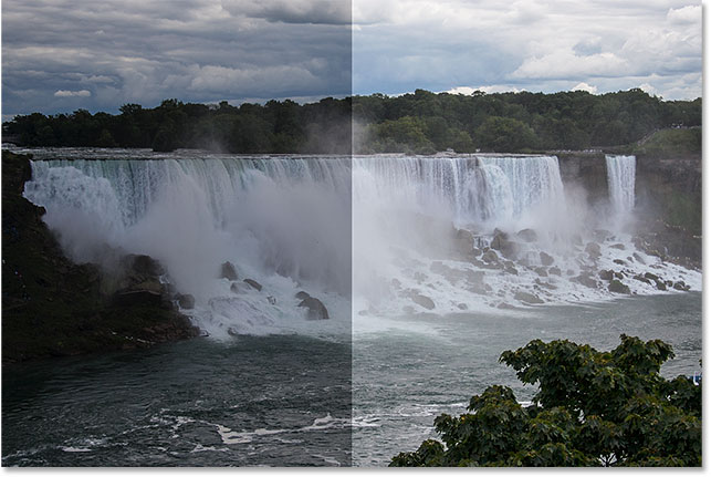 A comparison of the original and brightened versions of the photo.