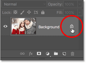 Clicking the Background layer's lock icon.