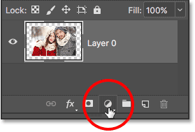 Clicking the New Fill or Adjustment Layer icon.