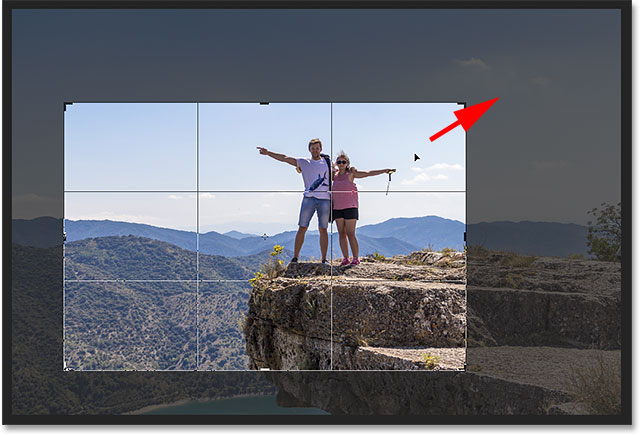 Click and drag inside the crop border to reposition the image.