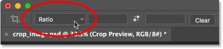 Clicking the Aspect Ratio option in the Options Bar.