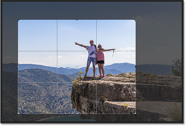 Resizing the crop border after setting the aspect ratio.