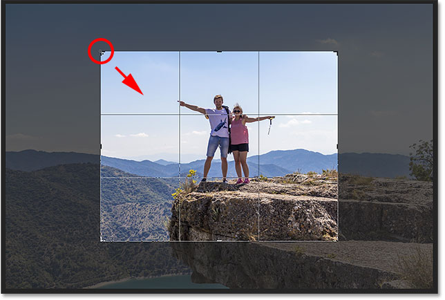 Resizing the border after setting the crop size in the Options Bar.