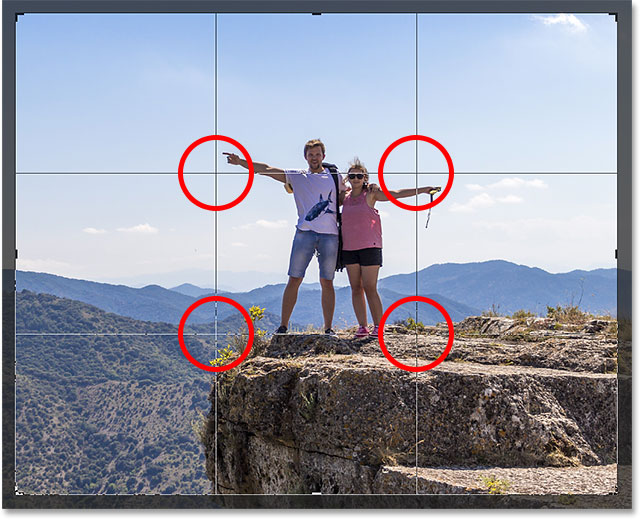 The Rule of Thirds says to position your subject at a spot where the grid lines meet.