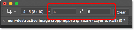 The Width and Height options for the Crop Tool in the Options Bar.