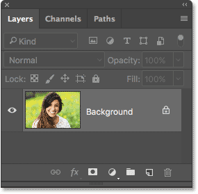 The Layers panel showing the image on the Background layer.