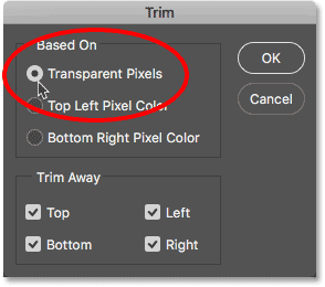Selecting Transparent Pixels in the Trim dialog box.