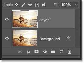 Photoshop Layers panel showing the copy of the image above the Background layer