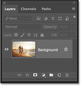 Photoshop Layers panel showing the image on the Background layer