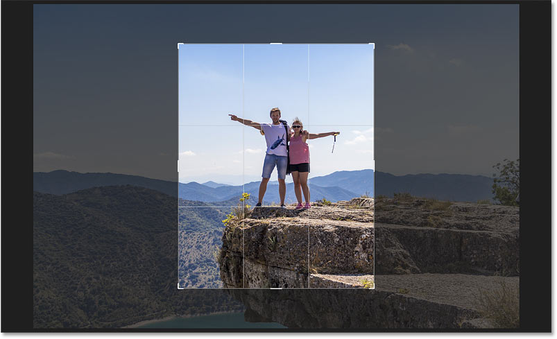 The crop border switches to the 8 x 10 aspect ratio in Photoshop