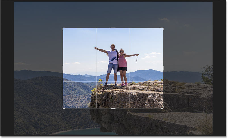 The crop border has switched from Portrait to Landscape orientation in Photoshop