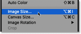 Opening the Image Size command to check to crop size in Photoshop