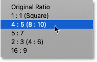 Choosing 8x10 from the Aspect Ratio menu in Photoshop